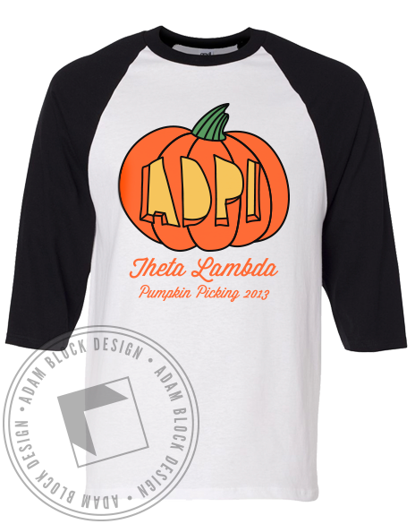 Alpha Delta Pi Pumpkin Picking Tee Shirt-Adam Block Design