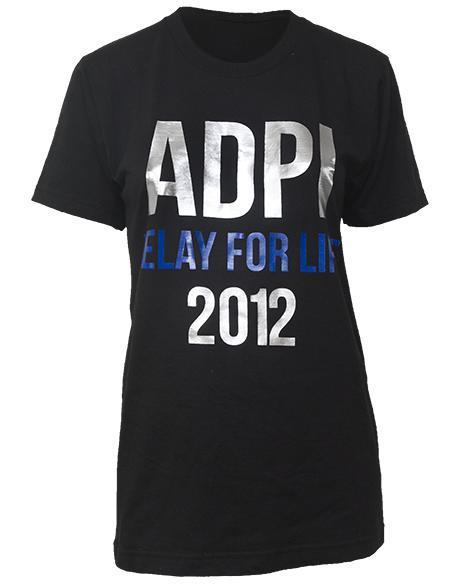 Alpha Delta Pi Relay For Life Tee Shirt-Adam Block Design