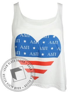 Alpha Delta Pi USA Heart Tank Top-Adam Block Design
