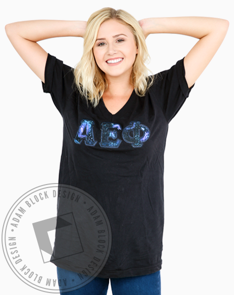 Alpha Epsilon Phi Galaxy Fabric Letter Vneck-gallery-Adam Block Design