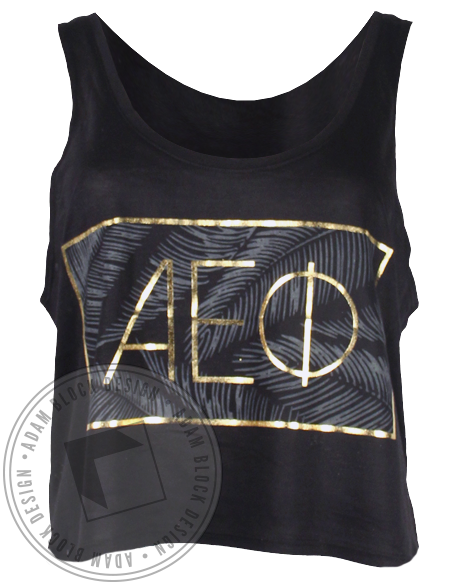 Alpha Epsilon Phi Gold Palms Tank Top-Adam Block Design