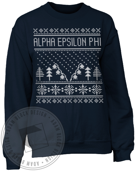 Alpha Epsilon Phi Holiday Sweatshirt-Adam Block Design