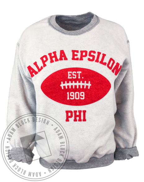 Alpha Epsilon Phi Inside Out Football Sweatshirt-gallery-Adam Block Design