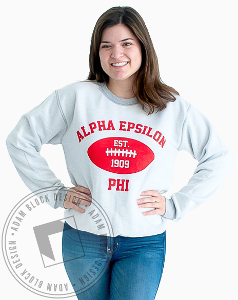 Alpha Epsilon Phi Inside Out Football Sweatshirt-Adam Block Design