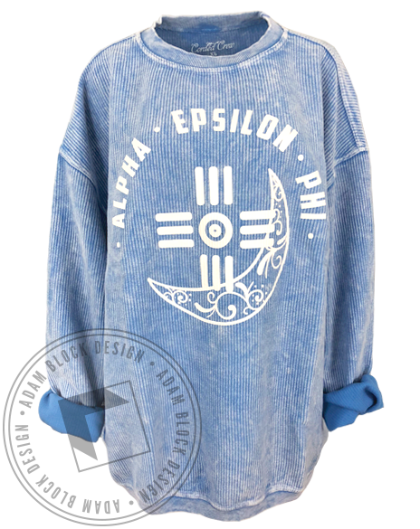 Alpha Epsilon Phi Moon Corded Crew Sweatshirt-Adam Block Design