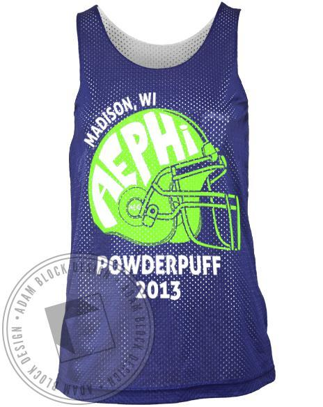 Alpha Epsilon Phi Powderpuff Helmet Tank Top-Adam Block Design