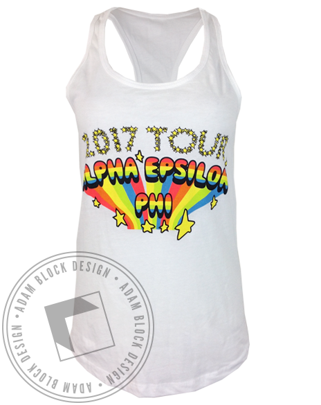 Alpha Epsilon Phi Rainbow Tour Racerback Tank Top-Adam Block Design
