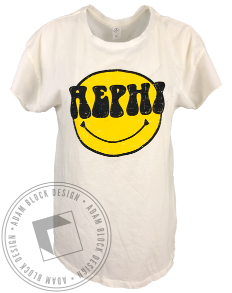 Alpha Epsilon Phi Smiley Face Vintage Tee Shirt-Adam Block Design
