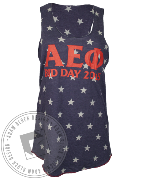 Alpha Epsilon Phi Stars Tank Top-Adam Block Design