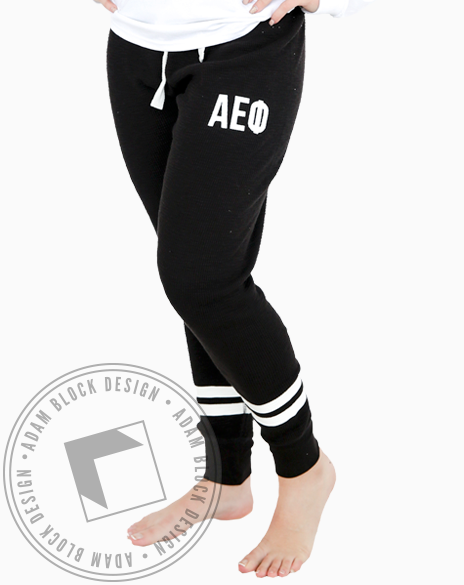 Alpha Epsilon Phi Waffle Knit Joggers-gallery-Adam Block Design