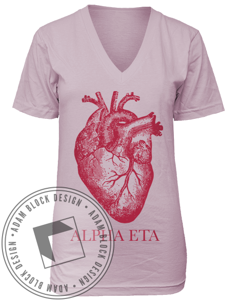 Alpha Eta Heart Vneck-Adam Block Design