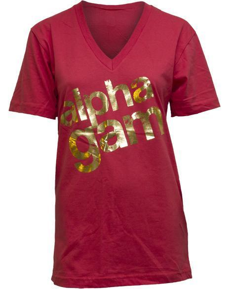 Alpha Gamma Delta Crest Red V-Neck-gallery-Adam Block Design