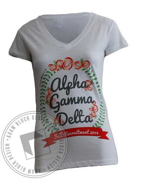 Alpha Gamma Delta Floral Recruitment V-Neck-gallery-Adam Block Design