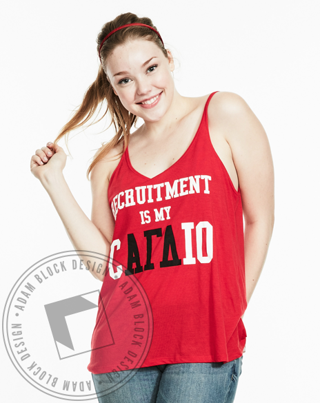 Alpha Gamma Delta Recruitment is my Cardio Tank Top-Adam Block Design