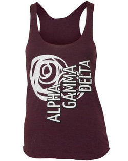Alpha Gamma Delta Rose Maroon Tank Top-Adam Block Design