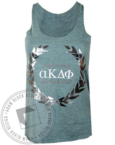 Alpha Kappa Delta Phi Silver Wreath Tank Top-Adam Block Design
