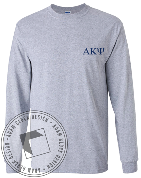 Alpha Kappa Psi Always A Kaptain Long Sleeve Tee-gallery-Adam Block Design