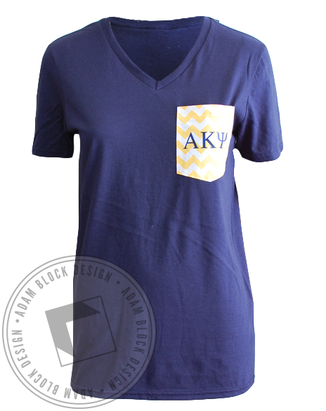 Alpha Kappa Psi Chevron Pocket Tee-gallery-Adam Block Design
