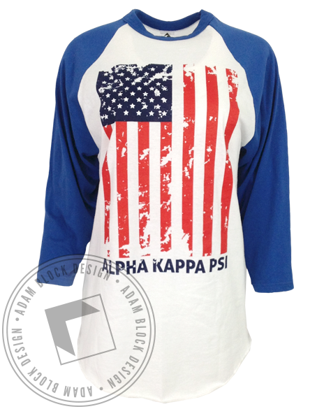 Alpha Kappa Psi Flag Baseball Tee-gallery-Adam Block Design