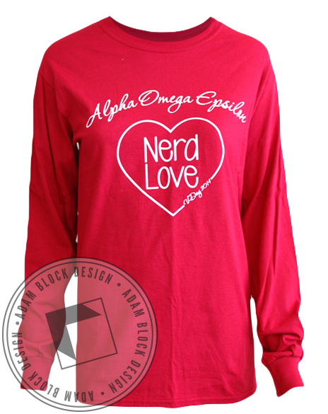 Alpha Omega Epsilon Nerd Love Long Sleeve-gallery-Adam Block Design