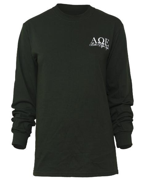 Alpha Omega Epsilon Santa Long Sleeve Tee-Adam Block Design