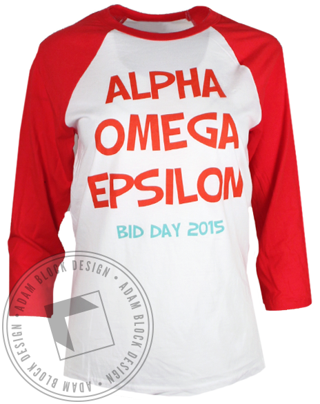 Alpha Omega Epsilon Stand Out Long Sleeve Baseball Tshirt-Adam Block Design