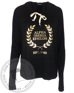Alpha Omega Epsilon Wreath Flowy Sweatshirt Hoody-Adam Block Design