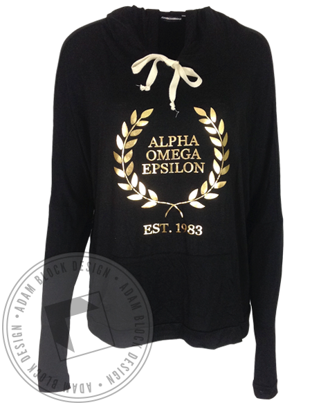 Alpha Omega Epsilon Wreath Flowy Hoody-gallery-Adam Block Design