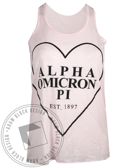 Alpha Omicron Pi 1897 Heart Tank Top-Adam Block Design