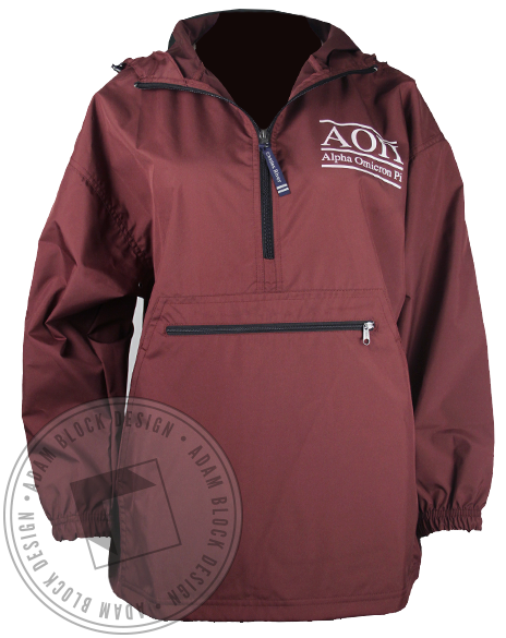 Alpha Omicron Pi AOII Windbreaker Jacket-Adam Block Design