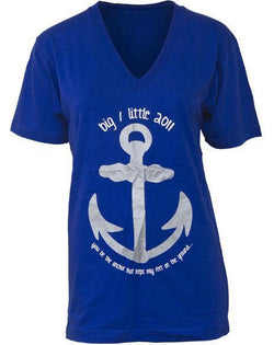 Alpha Omicron Pi Big Little Anchor V-Neck-Adam Block Design