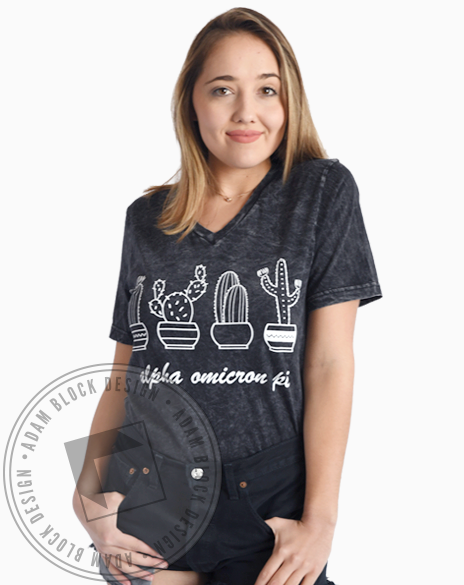 Alpha Omicron Pi Cacti Acid Wash Tee Shirt-Adam Block Design
