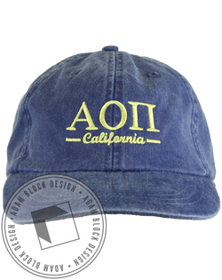 Alpha Omicron Pi California Hat-Adam Block Design