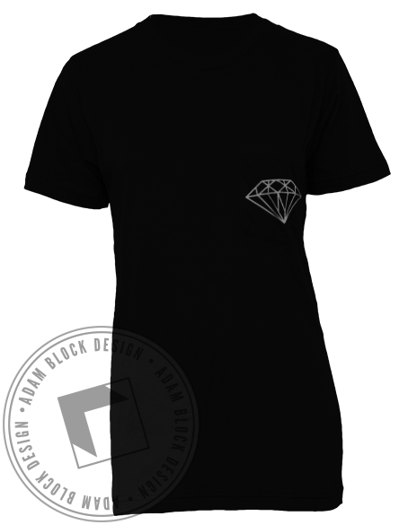 Alpha Omicron Pi Diamonds And Pearls Pocket Tee Shirt-gallery-Adam Block Design