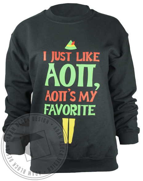 Alpha Omicron Pi Elf Sweatshirt-Adam Block Design