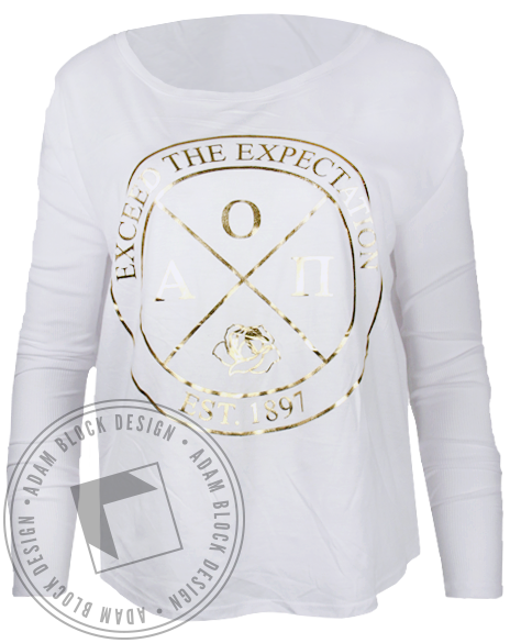 Alpha Omicron Pi Exceed Expectations Longsleeve Shirt-Adam Block Design