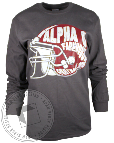 Alpha Omicron Pi Farmhouse Football Longsleeve Shirt-Adam Block Design
