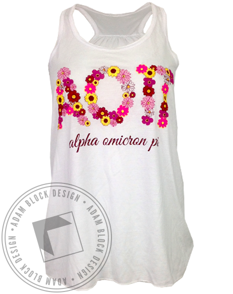 Alpha Omicron Pi Floral Letter Tank Top-gallery-Adam Block Design