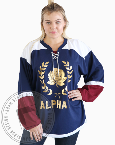 Alpha Omicron Pi Gold Foil Hockey Jersey-Adam Block Design