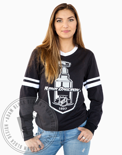 Alpha Omicron Pi Hockey Longsleeve-Adam Block Design