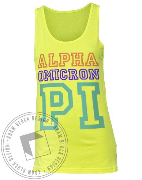 Alpha Omicron Pi Neon Letter Bid Day Tank Top-Adam Block Design