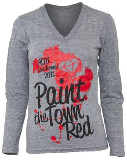 Alpha Omicron Pi Paint The Town Red Long Sleeve V-neck-Adam Block Design