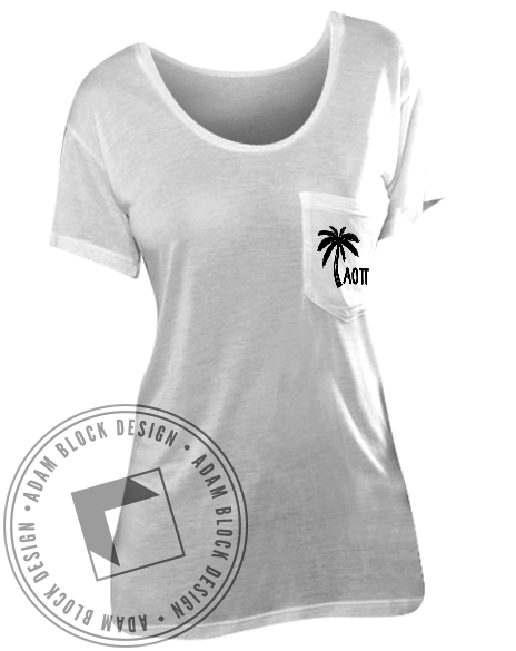 Alpha Omicron Pi Palm Tree Pocket Tee Shirt-gallery-Adam Block Design