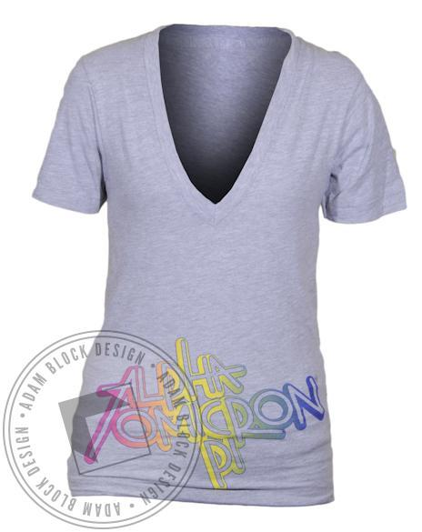 Alpha Omicron Pi Rainbow V-Neck-gallery-Adam Block Design