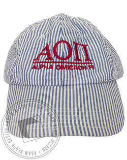 Alpha Omicron Pi Seersucker Hat-Adam Block Design