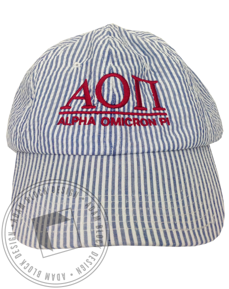 Alpha Omicron Pi Seersucker Hat-gallery-Adam Block Design