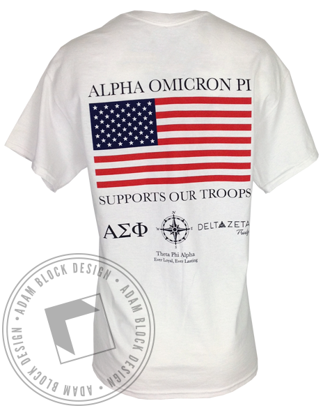 Alpha Omicron Pi Sisters For Soldiers Tee Shirt-Adam Block Design