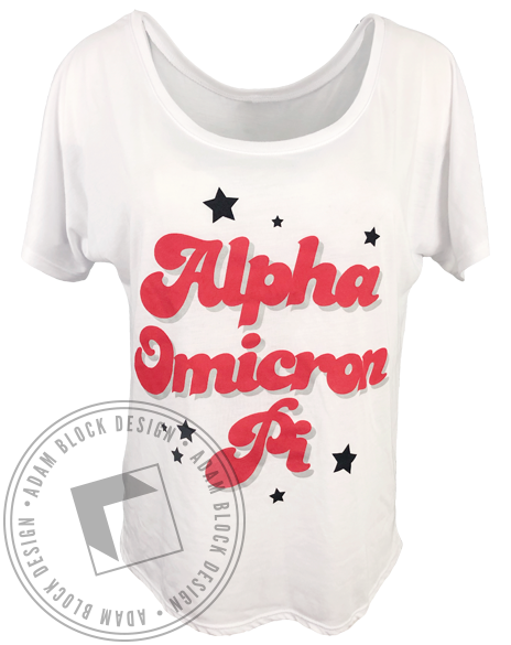 Alpha Omicron Pi Star Tee-Adam Block Design