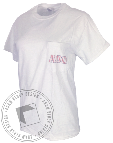 Alpha Omicron Pi Stay Merry Pocket Tee Shirt-gallery-Adam Block Design