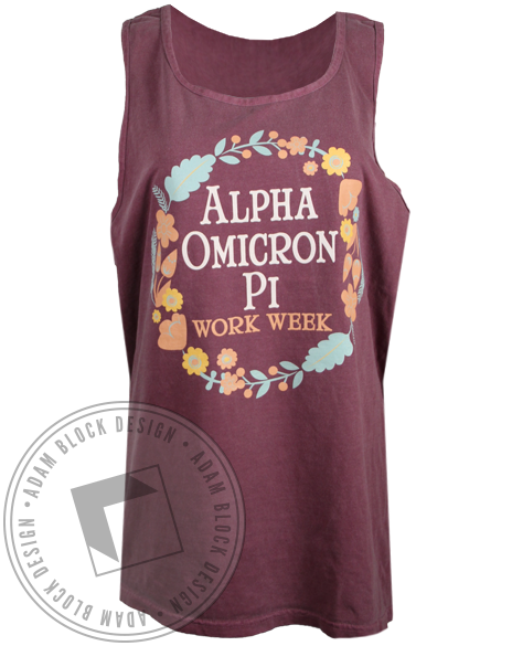 Alpha Omicron Pi Work Week Tank Top-Adam Block Design